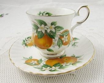 "Vintage Tea Cup and Saucer ""Florida Oranges"", Made by Elizabethan, Fine Bone China, Fruit Teacup and Saucer"