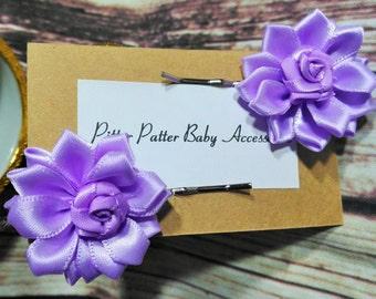 Purple Silk Flower Hair Pins, Set Of Girls Flower Bobby Pins, Silver Bobby Pins With Lilac Silk Flower Embellishment To Compliment Them