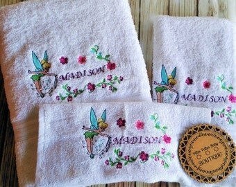 Girls Gift Set, Tinkerbell Design, Personalised Towel Set, Hand Towel, Face Cloth, White Towel Set, Childrens Gift Set, Personalised, Custom