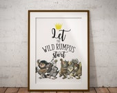 Where the Wild Things Are Let the Wild Rumpus Start Printable, First Birthday, Wild One, 1