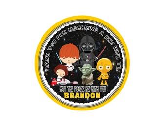 "Star Wars Personalized Printable Thank you Tags- 2.5"" Printable Tags- Custom Starwars characters DIY Tags- YOU PRINT-Digital file"