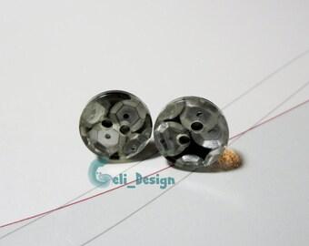 Ear plug button silver sequins