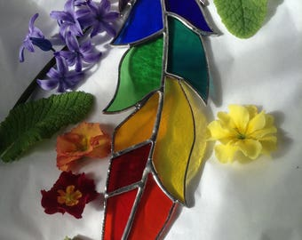 """Stained Glass Feather Sun Catcher,Window Art,Rainbow Chakra Colours,Silver Patina,Native American,Summer,Gay Pride,Birthday Gift,10"""""""