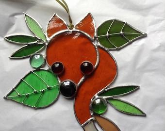 "Stained Glass Fox Suncatcher 'Little Bush Fox' Hanging Window or Wall Art OOAK Amber & Mixed Green Glass Perfect Gift 6""x6"""