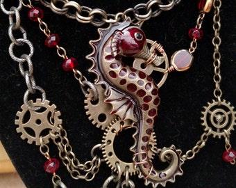 """Steampunk Seahorse Statement Necklace: """"The Siren's Skein"""""""