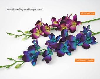 SET OF 3, stems/stalks, DIY, wedding, flowers, bouquet, blue, Galaxy, orchids, purple, aqua, ivory, turquoise, teal, Dendrobium, Bom, silk