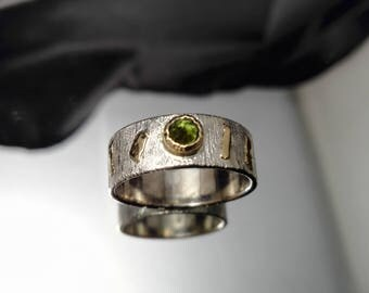 Green tourmaline for woman in Silver 925 and 18 k gold ring. Elegance and modernity in a single piece