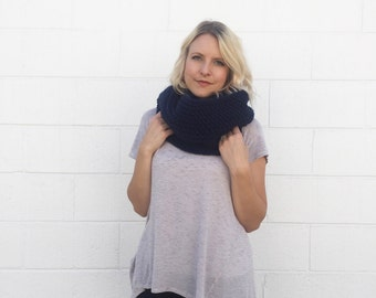 Crocheted / Knit Infinity Scarf - Navy -  Made to Order