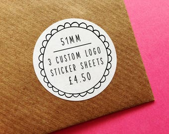 "3 Custom Logo Stickers 51mm Sheet, 2"" Round Matt Customisable Business Labels, Design, Christmas & Birthday Gift Wrapping, Wedding Stickers"