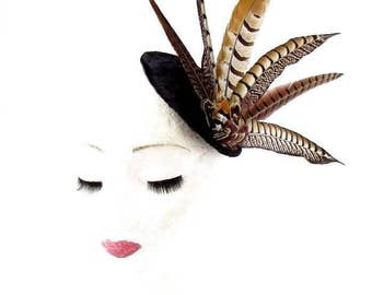 Black Brown Pheasant Statement Feather Fascinator Hair Clip Hat 40s Races 2424