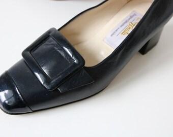 Vintage Designer Dark Blue Leather Shoes Made in Italy EU 36 / UK 3.5 / US 6