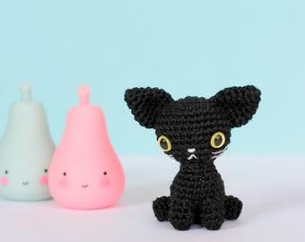 Black cat plush, Crochet amigurumi cat, Mini crochet plush cat, Tiny crochet cat, Mini amigurumi crochet animals, Cute plush animals