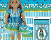 "Easy 18"" Doll Clothes Pattern Printed on Fabric, Daisy Dress, Jacket and Bag, Fabric Panel Kit, Cut & Sew"