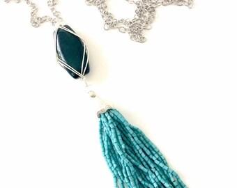 Tassel Necklace, Blue Tassel Necklace, Boho Chic Tassel Necklace, Bohemian Tassel, Boho Luxe Tassel, Long Tassel Necklace, Layering Necklace
