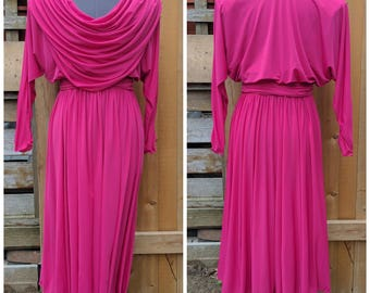 Vintage 1980's Aj Adinaj Fashions Fuchsia Magenta Drape Front Full Sleeve Bridesmaid Dress