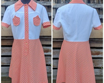 Vintage 1960s or 70s Orange and White Gingham 100% Polyester Knee Length Dress