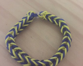 Blue Yellow Rainbow Loom Colorful Fishtail Simple Bracelet (Proceeds donated to the Human Rights Campaign)