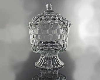 Large Candy Dish, Homco, Cube Pattern, Lidded Candy Dish, Footed Pedestal Dish