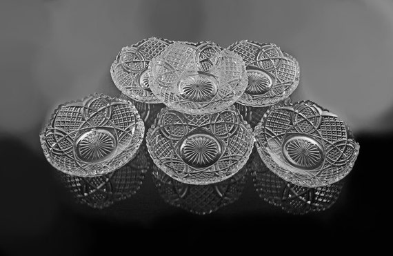 Antique Footed Dessert Bowls, American Brilliant, Cut Glass, Fruit Bowls, Strawberry Diamond Motif, Set of 6