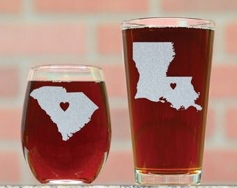 Personalized Pint and Wine Glasses. Pick and State and Place Heart Anywhere (Or Text) . Custom Wine and Beer Glasses. His and Hers Gifts.