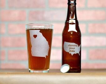 Custom Pint Glass - Pick Any State - Custom Beer Glass - Beer Glass - Pint Glass - Beer Glasses - Pint Glasses - State Pint Glass