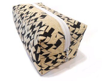 Limited Edition Gold Pencil Case, Gold Makeup Bag, Black and Gold Make Up Bag, Gold Cosmetic Bag, Gold Pencil Holder