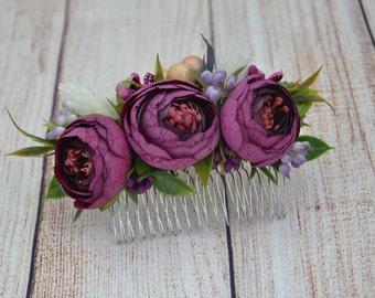 Wedding hair accessories Plum flower comb bridal Plum hair comb wedding Flower headpiece Wedding hair piece Gift for girlfriend Flower hair
