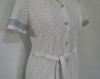 Vintage dress 70s navy white floral sun dress shirt waister with original belt size small