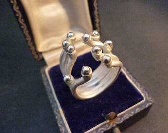 Unique sterling silver ring - 925 - statement piece - UK N - US 6.75