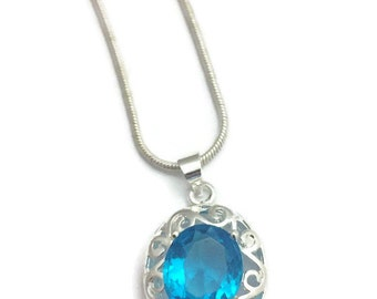 Cubic Zirconia Green Stone Silver Necklace- Aqua Cubic Zirconia Stone Necklace, Red CZ Stone Necklace- Blue CZ Stone Necklace-Purple Stone