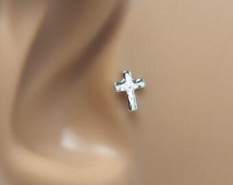 Cross Helix Piercing - Tragus 16 Gauge - Tragus Piercing 16g - Cross Tragus Stud - Helix Earring - Tragus Backing - Bioflex 16 Gauge
