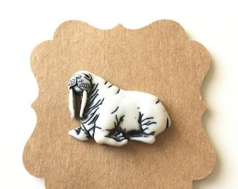 Walrus Pin, Wild Animal Pin, Tie Tack, Brooch, Lapel Pin