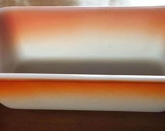 Glasbake loaf pan white orange