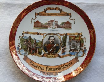 Vintage German NYMPHENBURG Palace Ludwig II Commemorative Cabinet Plate HK Bavaria