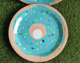 Donut Paper Plates 23cm 16pcs - Blue Icing with Sprinkles