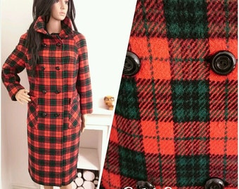 Vintage 60s Red Checked Double Breasted Wool Pea Coat Boho Mod Beatnik / UK 14 16 / EU 42 44