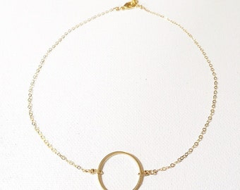 The Mimi Choker, 14k gold chain and circle pendant choker
