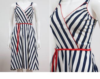 70's Blue and White Stripe Nautical Sundress • Blue and White Sailor Dress • Pin Up Nautical Dress • Red White and Blue Dress