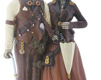 Steampunk Couple with Umbrella - Wedding Cake Topper
