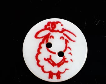 2pcs Red Sheep Buttons - 20mm Buttons - Animal Buttons - Picture Buttons - Sewing Buttons - Shell Buttons - Clothing Buttons - B65351