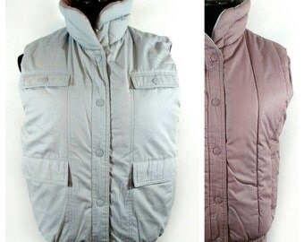 80s Puffy Vest, Vintage Reversible Gray Mauve Sleeveless Coat Size S Small to M Medium