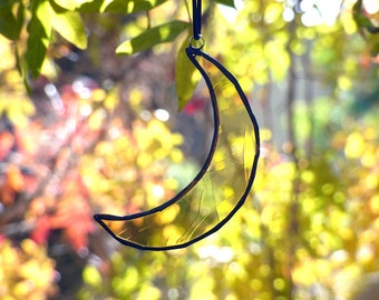 Stained Glass Crescent Moon, Half Moon Suncatcher, Window Hanging Crescent Moon Suncatcher, Yellow Moon