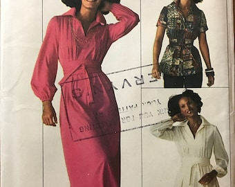 Simplicity 7617 - 1970s Jiffy Maxi or Knee Length Dress and Top with Notched Collar and Bodice Tucks - Size 14 Bust 36