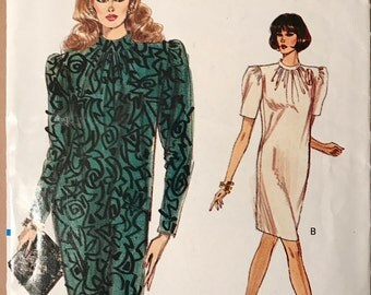 Vogue 7349 - 1980s Very Easy Tapered Dress with Stand Up Collar - Size 8 10 12