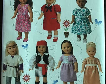 "Simplicity 1344 - Dolls Clothing Collection with Edwardian, Recency, 70s Hippie, and Pirate Costume Options - 18"" Doll"