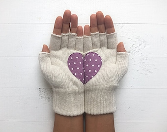Heart Gloves, Day Gift, EXPRESS Shipping, Polka Dot, Gift For Her, Gift, Hearts Gift, Anniversary Gift, Birthday Gift