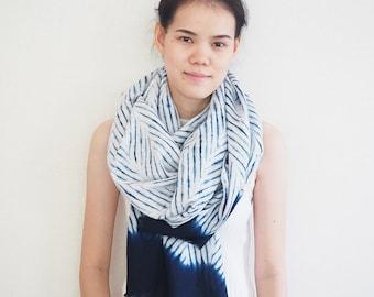 Natural Linen Scarf, Shibori Scarf, Tie Dye Scarf, Indigo Shawl, Shibori Linen Scarf **MADE TO ORDER**