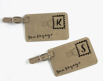 His & Hers Luggage Tags - Couple Luggage Tags - Gift for Couples - Bag Tags - Air Mail - Bon Voyage - Wedding Gift - Bridesmaid Gift