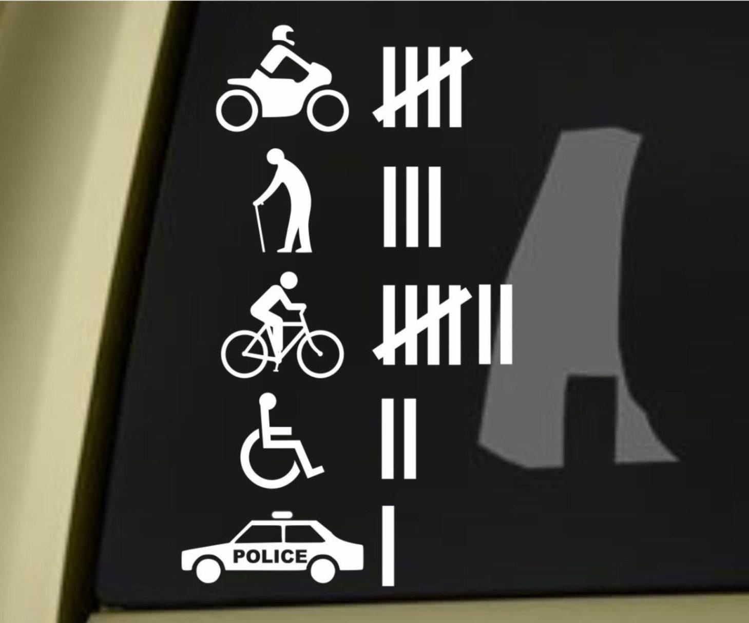 accident hit kill count funny bumper sticker vinyl decal jdm. Black Bedroom Furniture Sets. Home Design Ideas