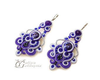 Soutache Purple Earrings Dangle Soutache earrings Swarovski Crystal violet jewelry earrings chandelier